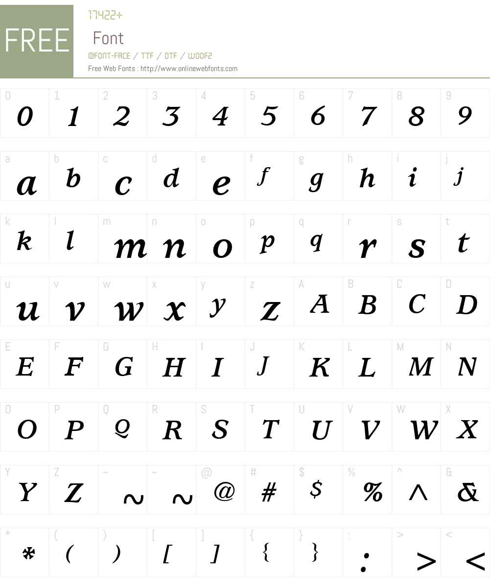 ITCUsherwoodW01-BoldItalic Font Screenshots