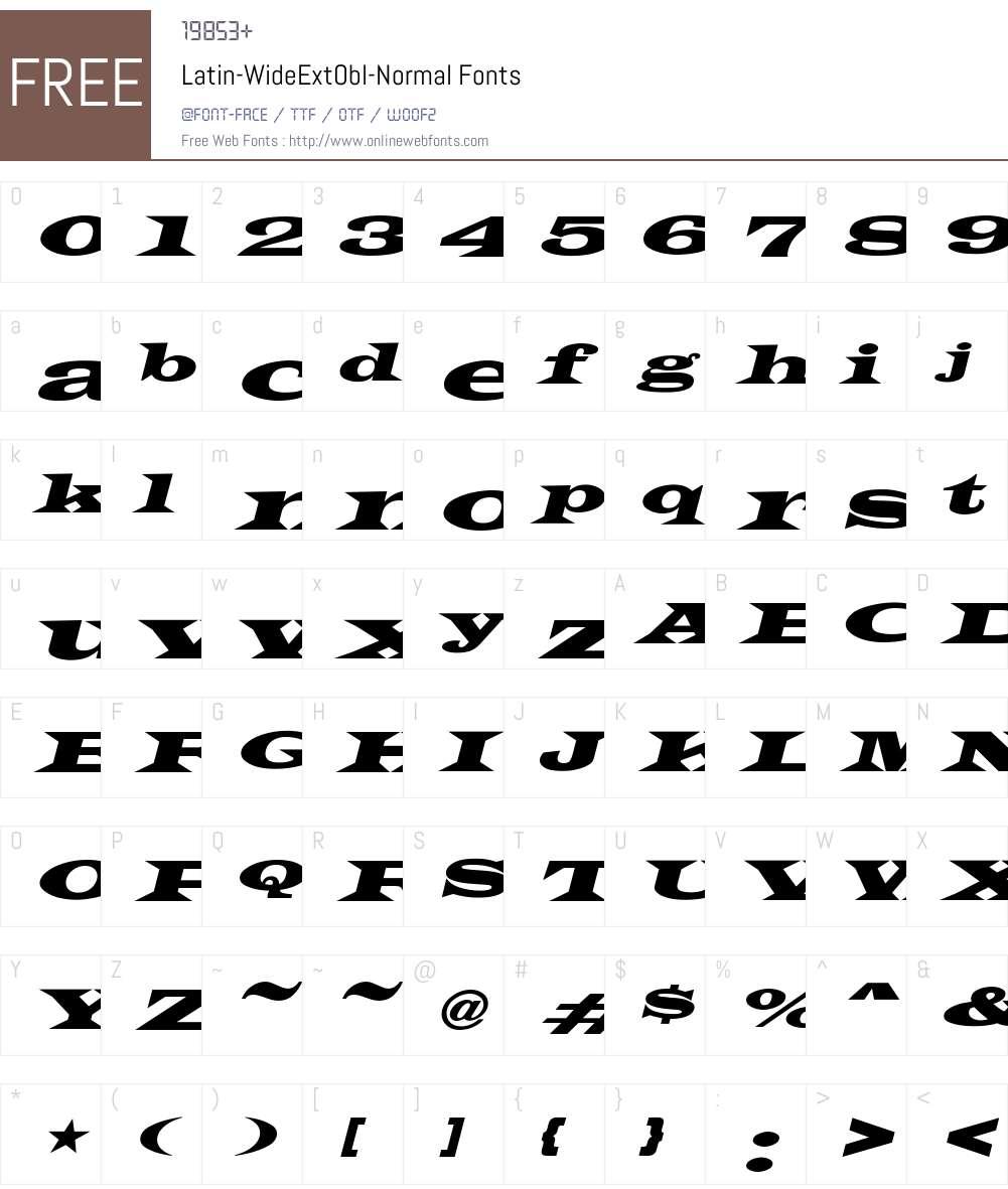 Latin-WideExtObl-Normal Font Screenshots