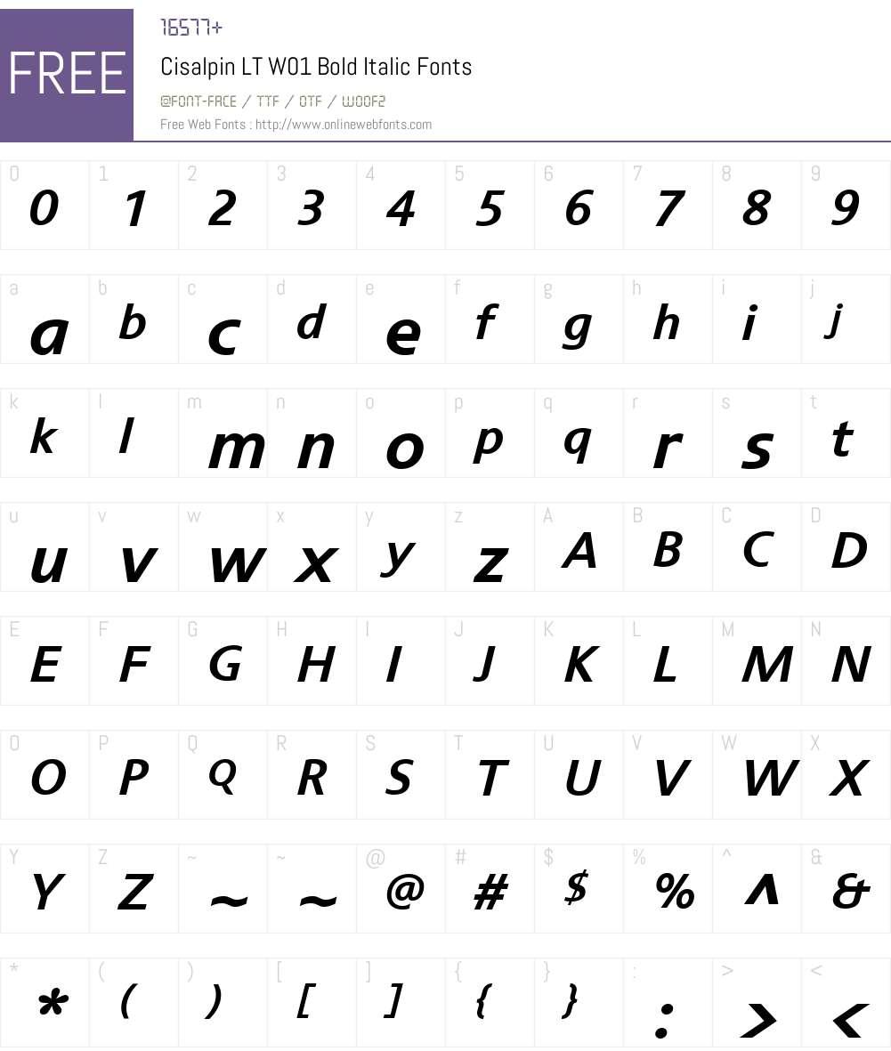 CisalpinLTW01-BoldItalic Font Screenshots