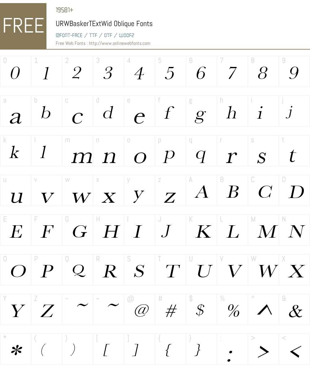 URWBaskerTExtWid Font Screenshots