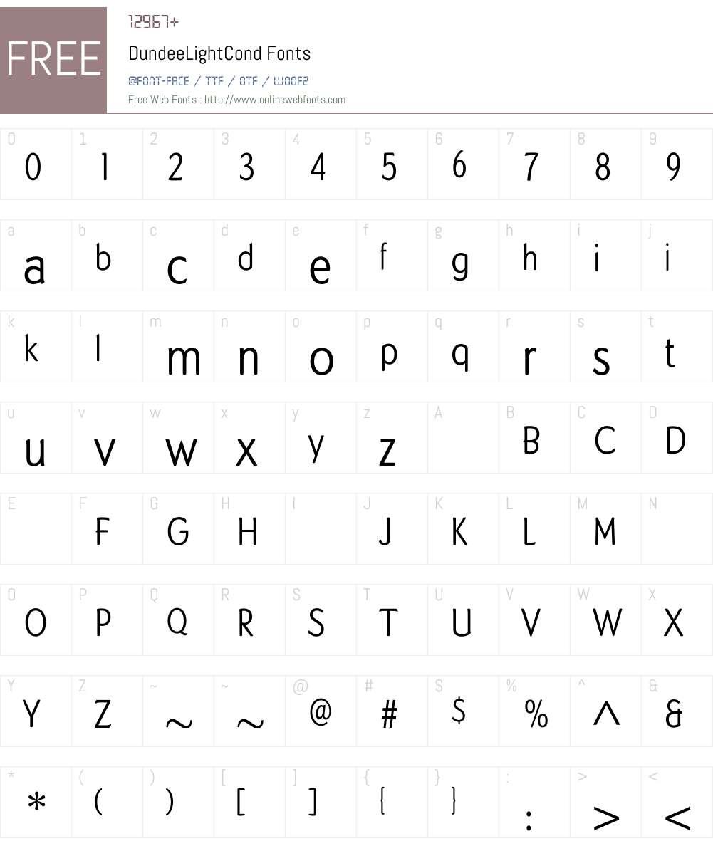 DundeeLightCond Font Screenshots