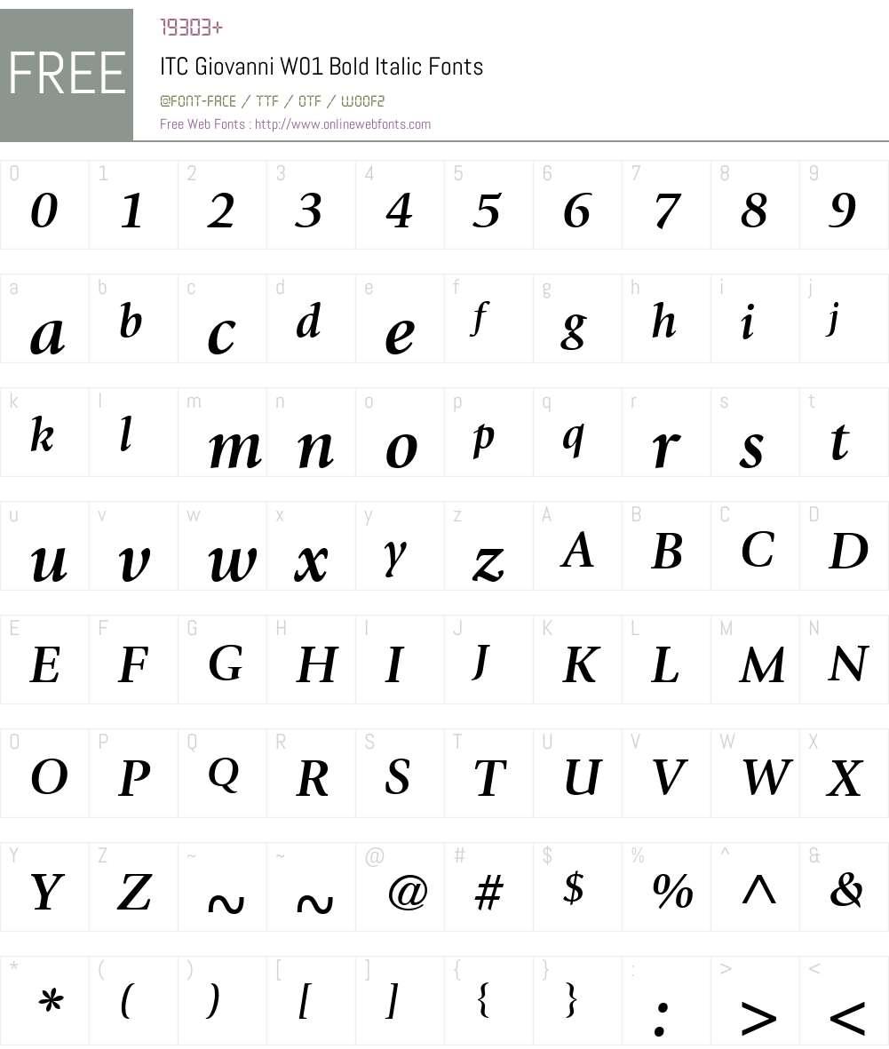 ITCGiovanniW01-BoldItalic Font Screenshots