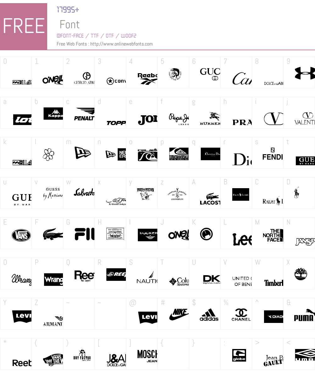 clothing logos tfb Font Screenshots
