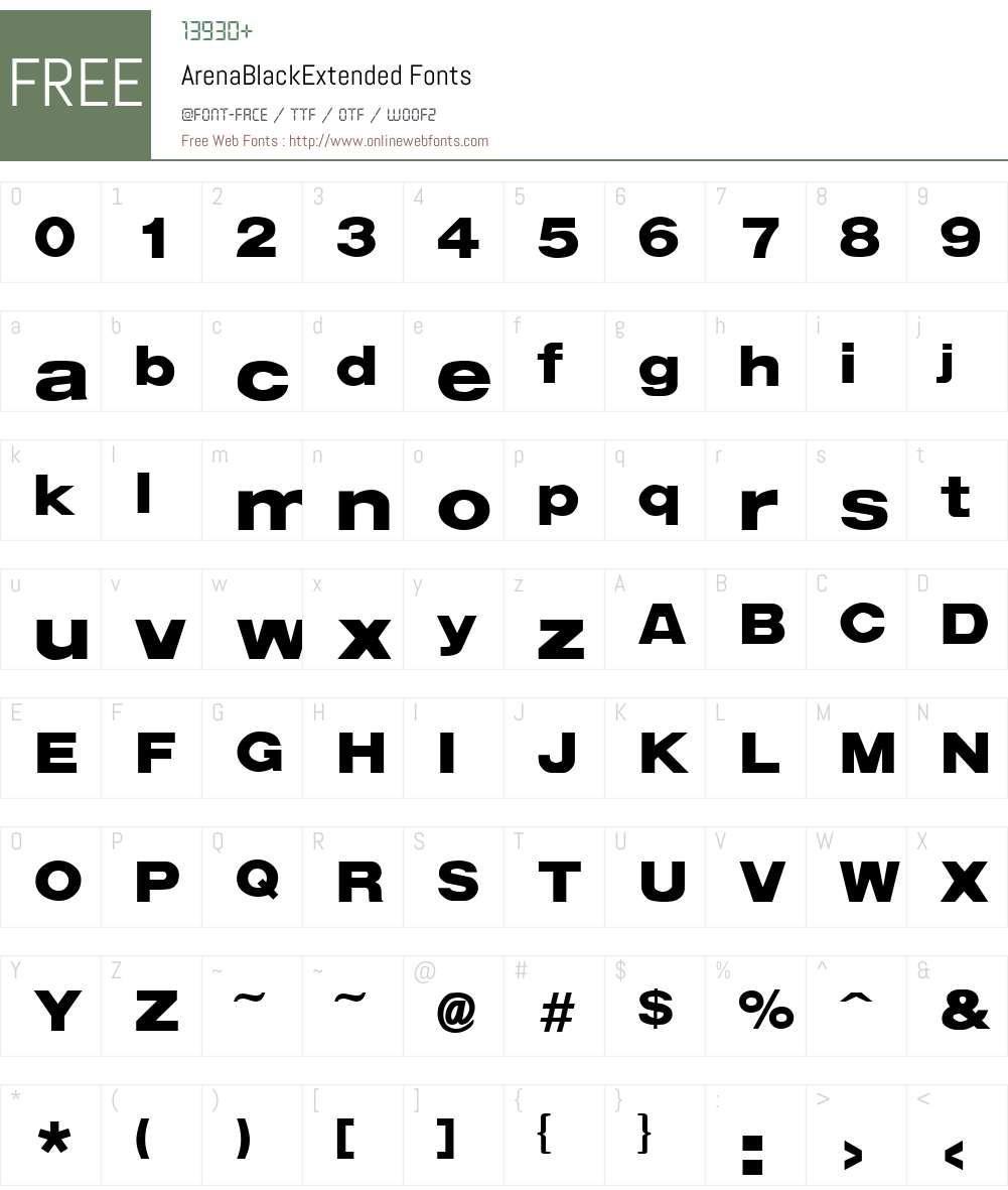 ArenaBlackExtended Font Screenshots