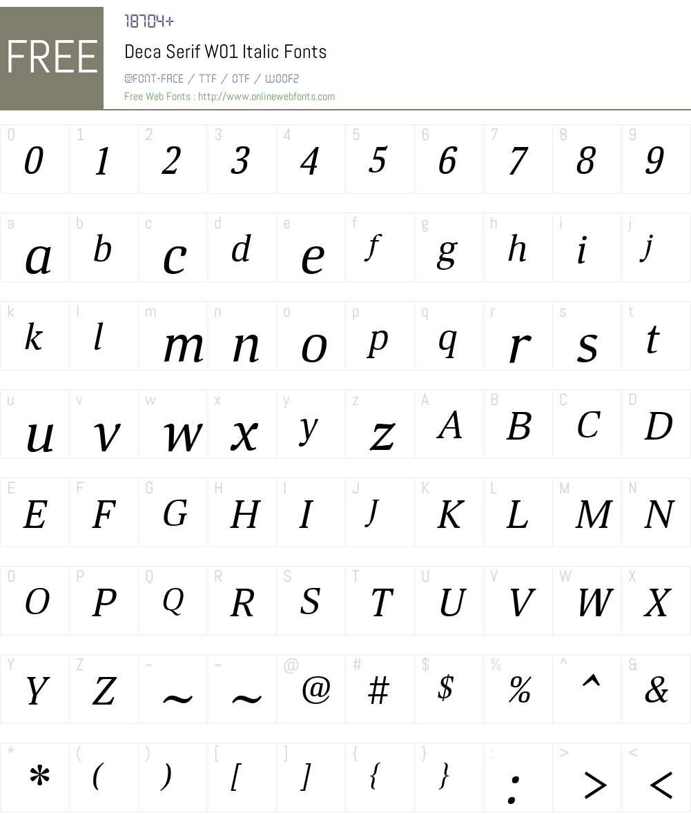 DecaSerifW01-Italic Font Screenshots
