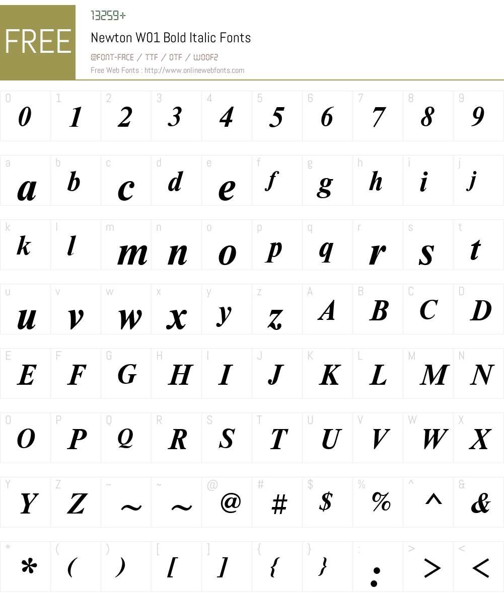 NewtonW01-BoldItalic Font Screenshots