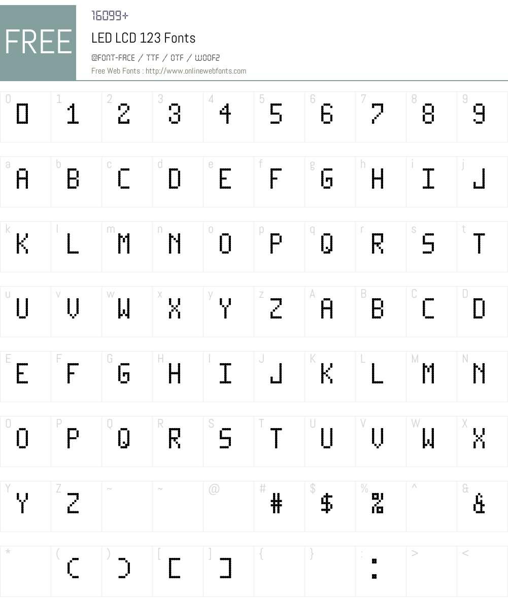 LED LCD 123 Font Screenshots