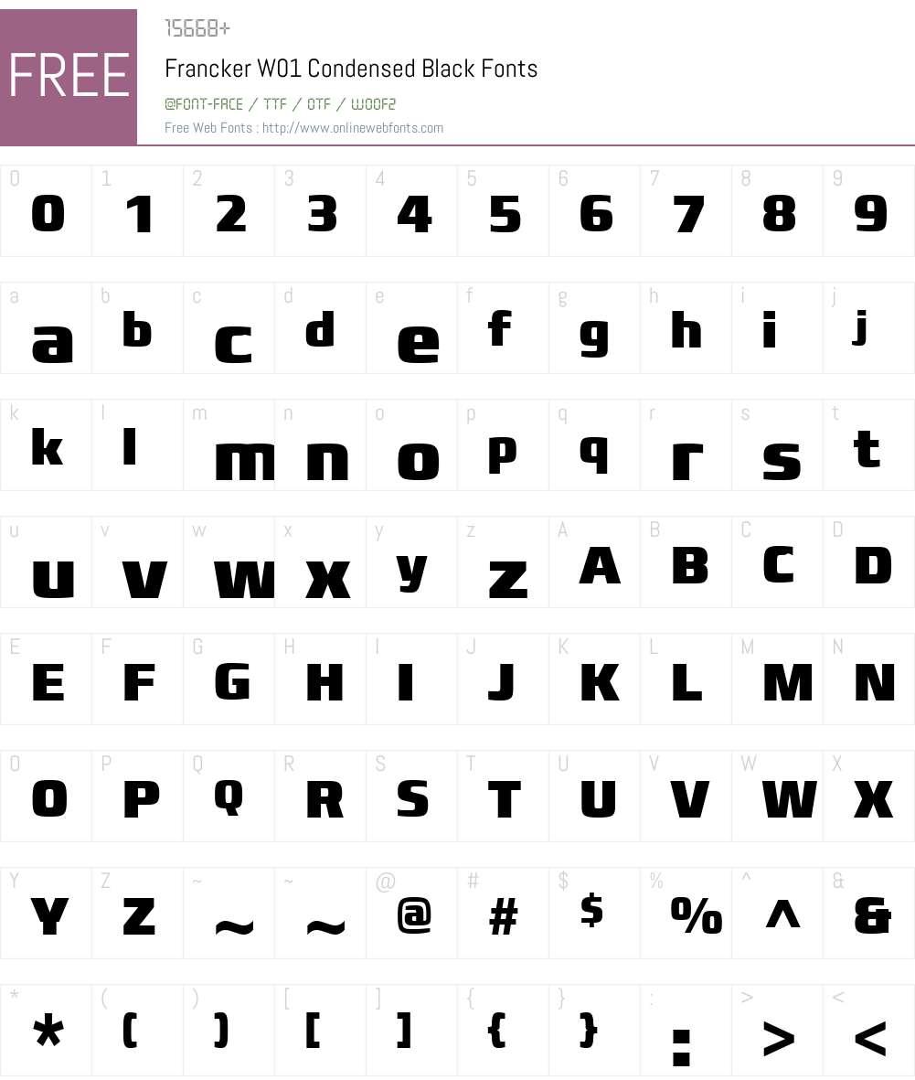 FranckerW01-CondensedBlack Font Screenshots