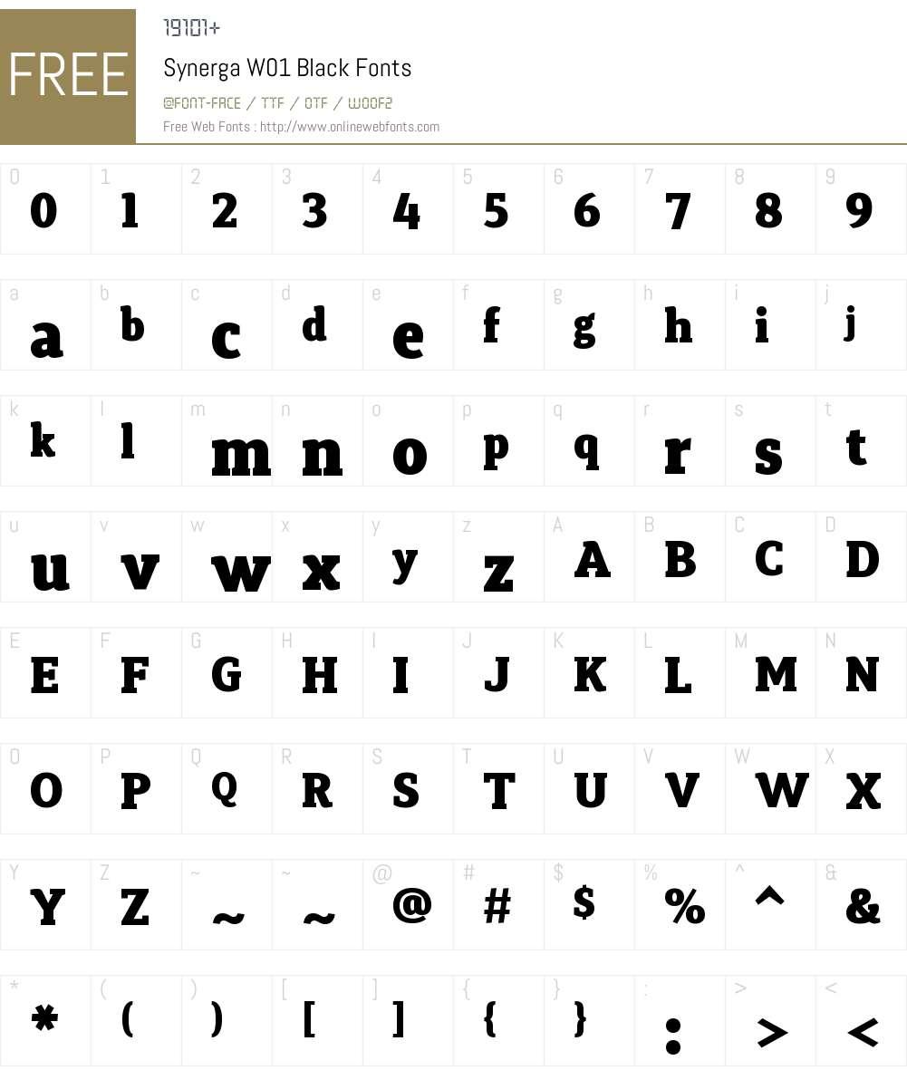 SynergaW01-Black Font Screenshots