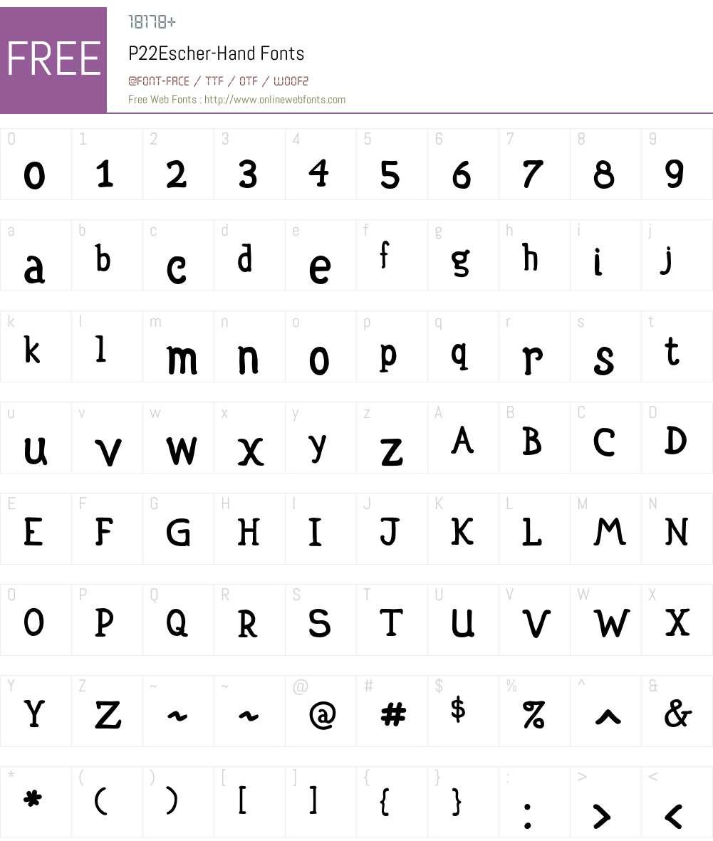 P22Escher Font Screenshots