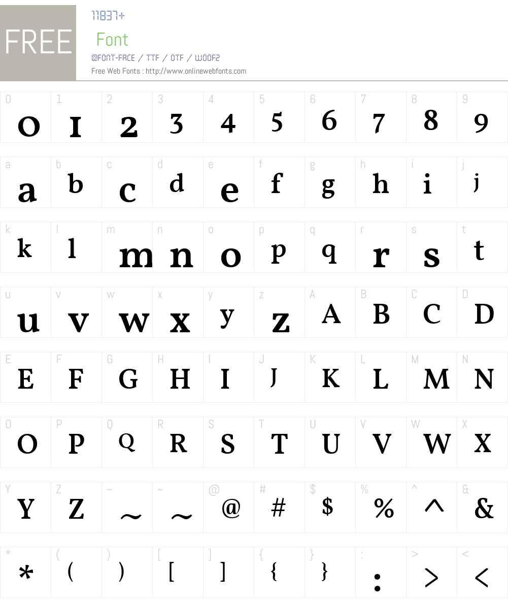Vollkorn Medium Font Screenshots