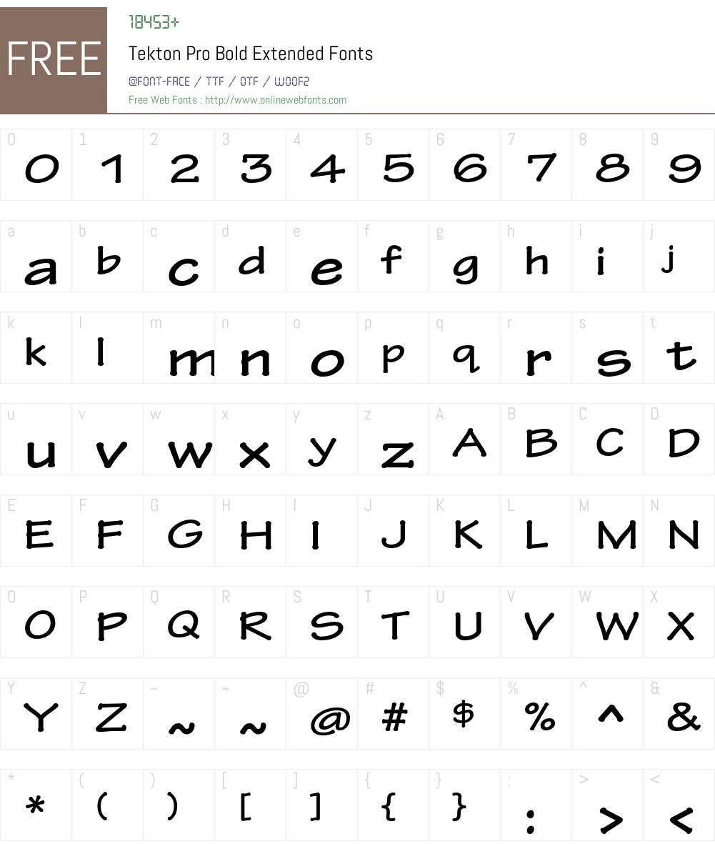 Tekton Pro Ext Font Screenshots