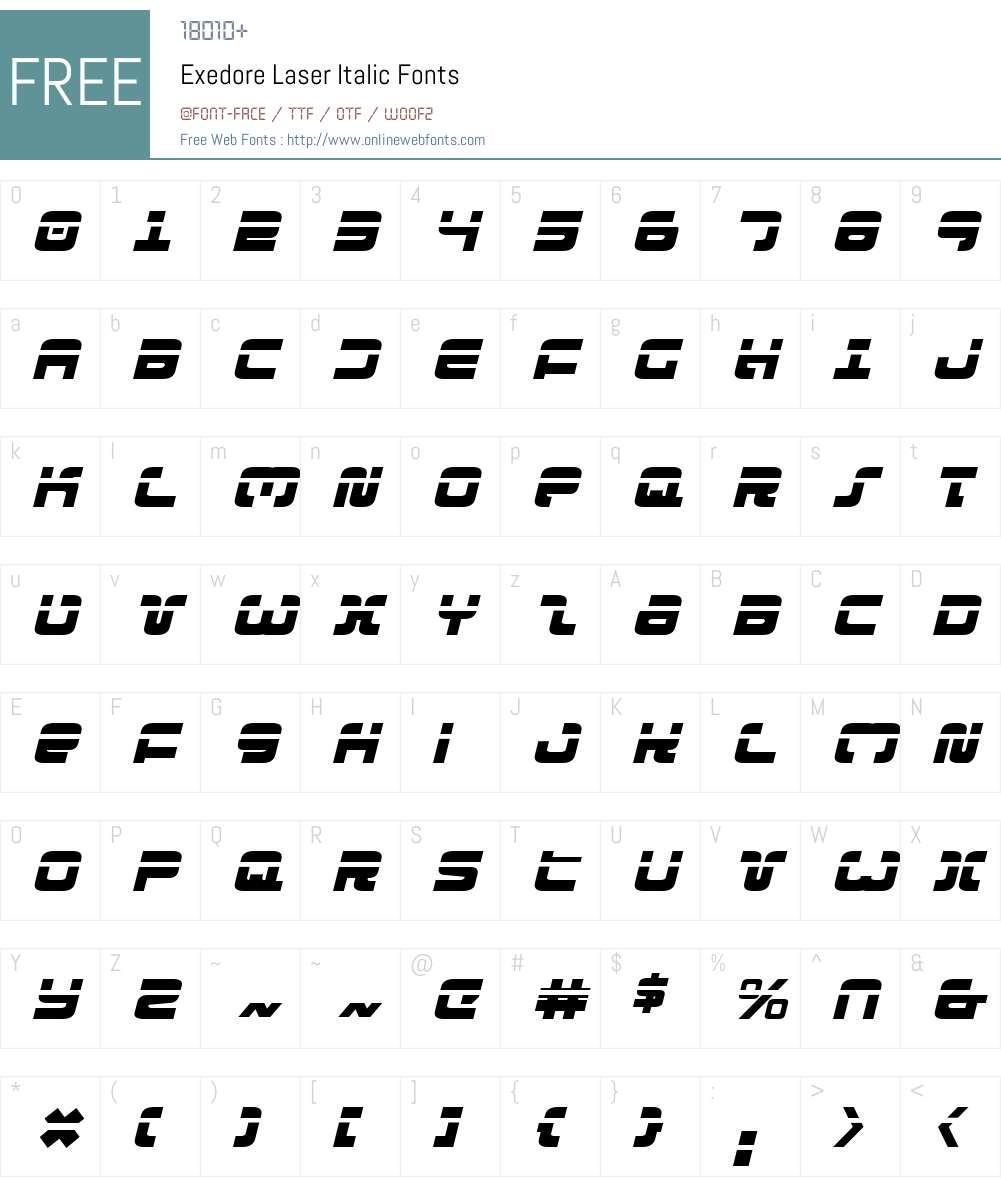 Exedore Laser Italic Font Screenshots