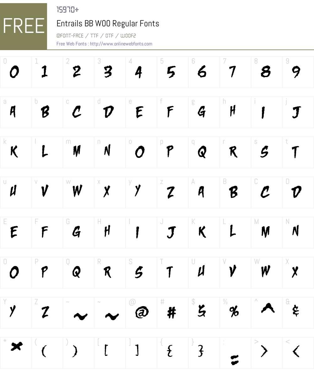 Entrails BB Font Screenshots