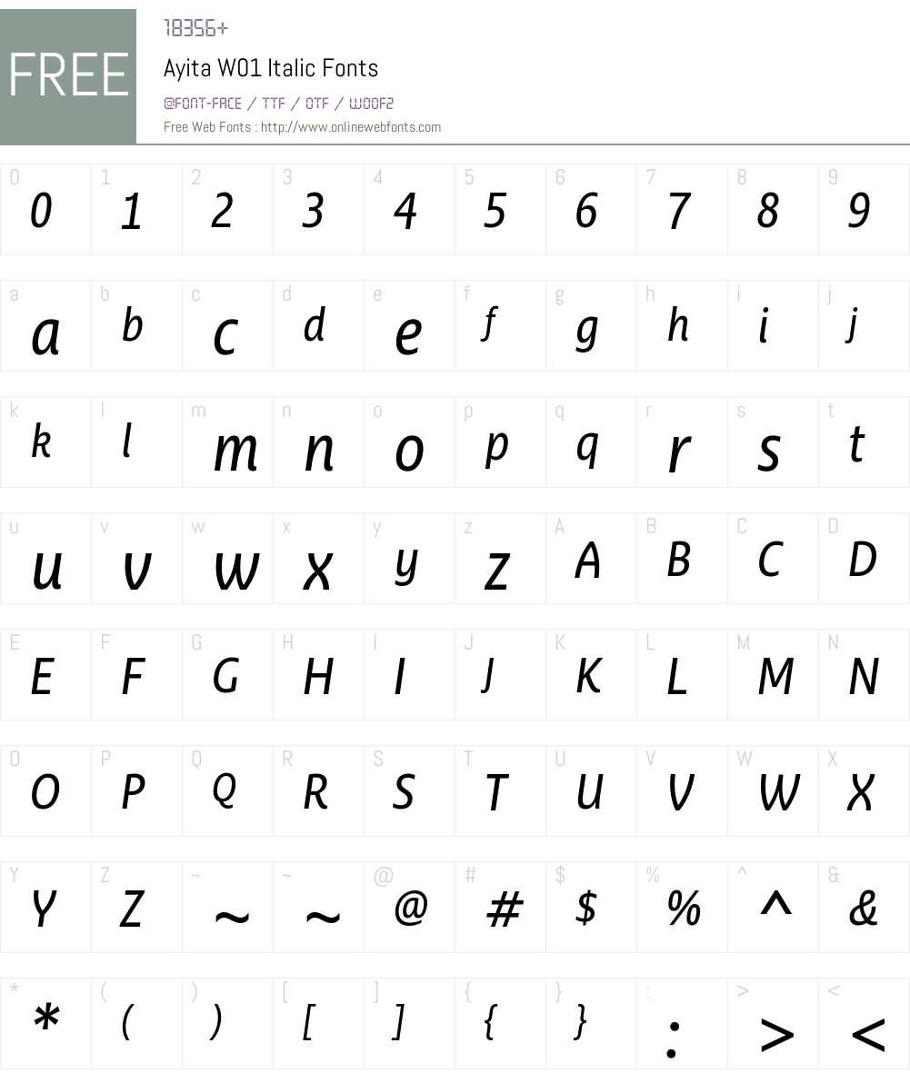 AyitaW01-Italic Font Screenshots