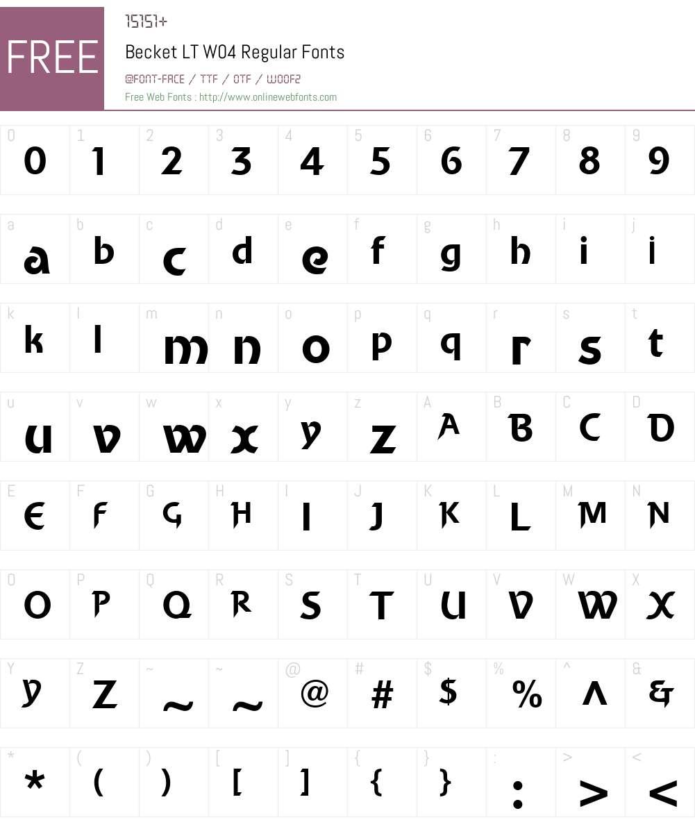 Becket Font Screenshots