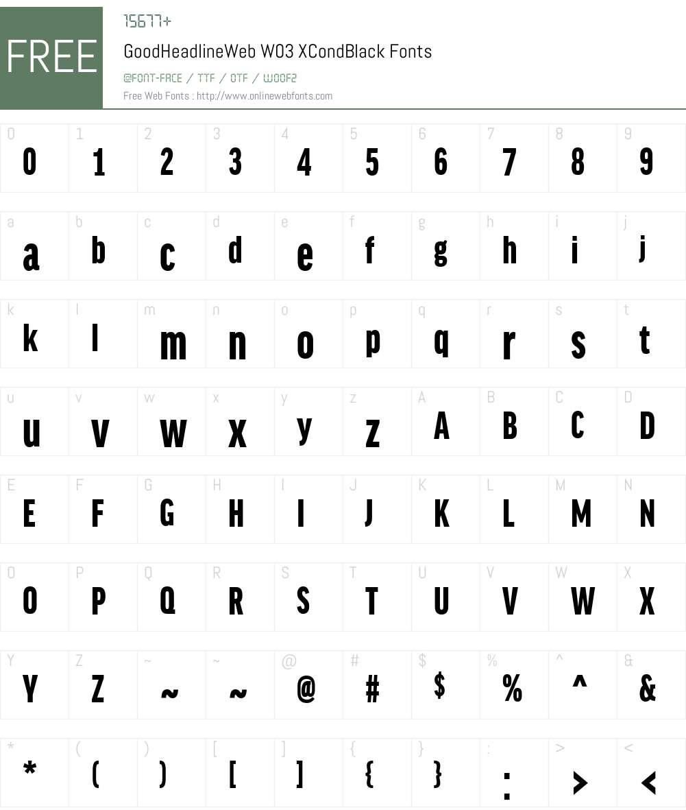 Lucifer Font: GoodHeadlineWeb W03 XCondBlack 7.504 Fonts Free Download