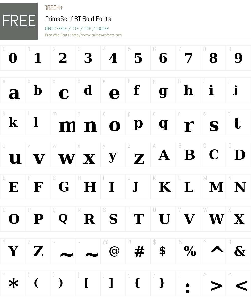 PrimaSerif BT Font Screenshots