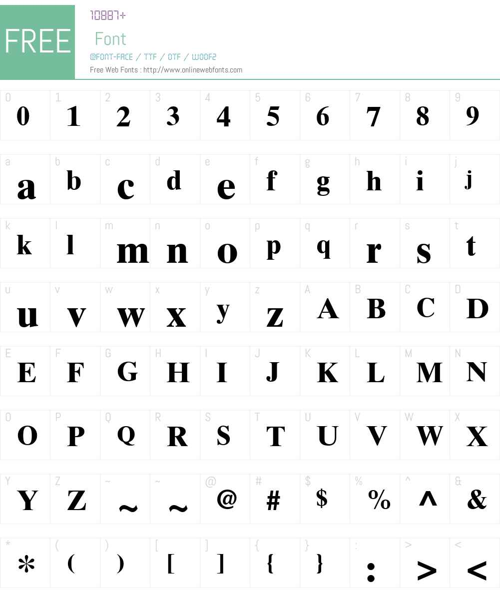 TimesTenW15-Bold Font Screenshots