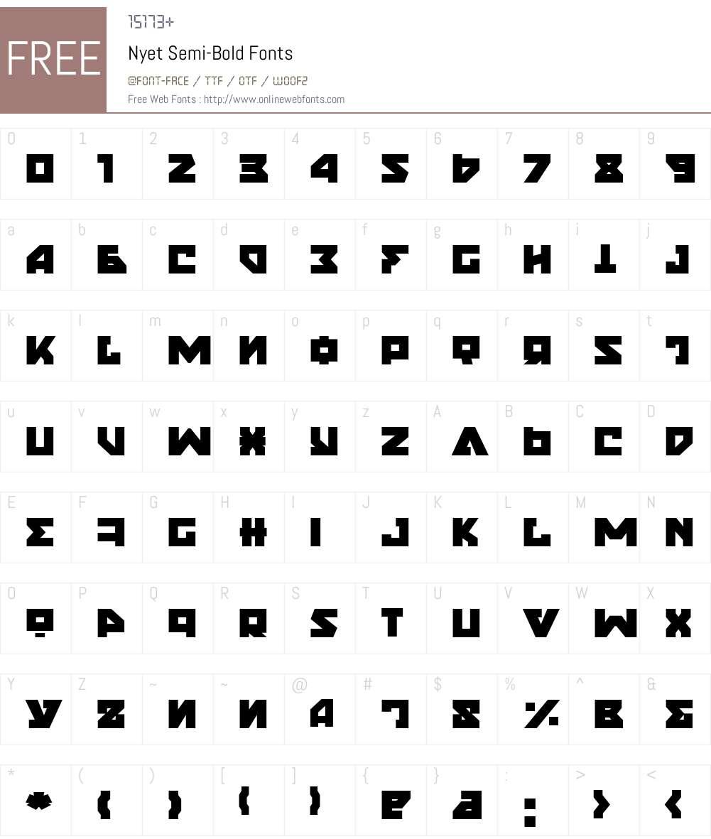 Nyet Semi-Bold Font Screenshots
