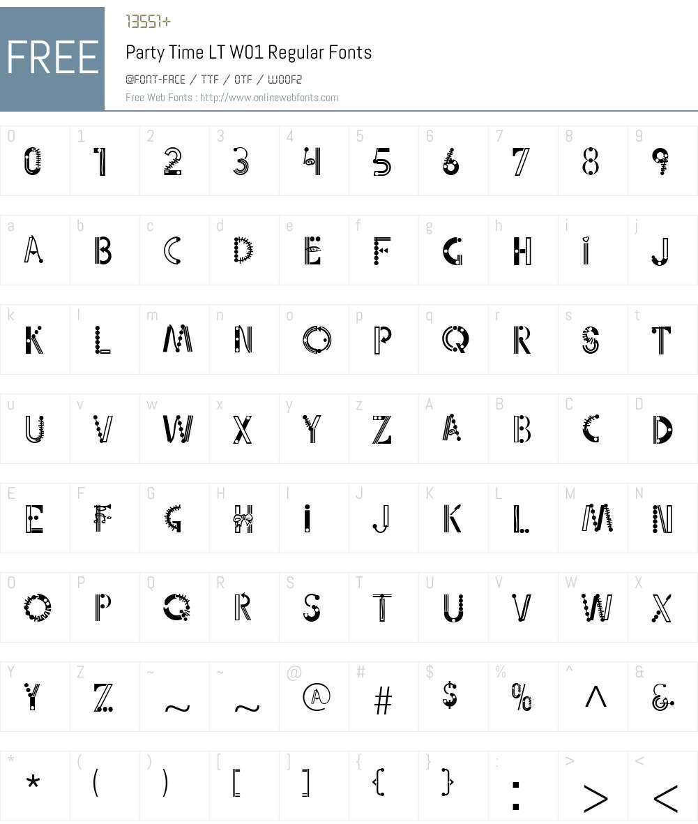 PartyTimeLTW01-Regular Font Screenshots