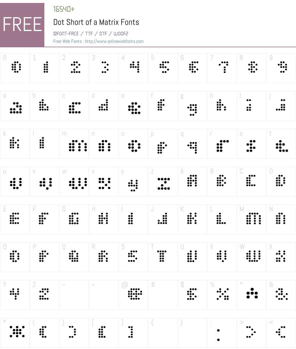 Dot Short of a Matrix Font Screenshots