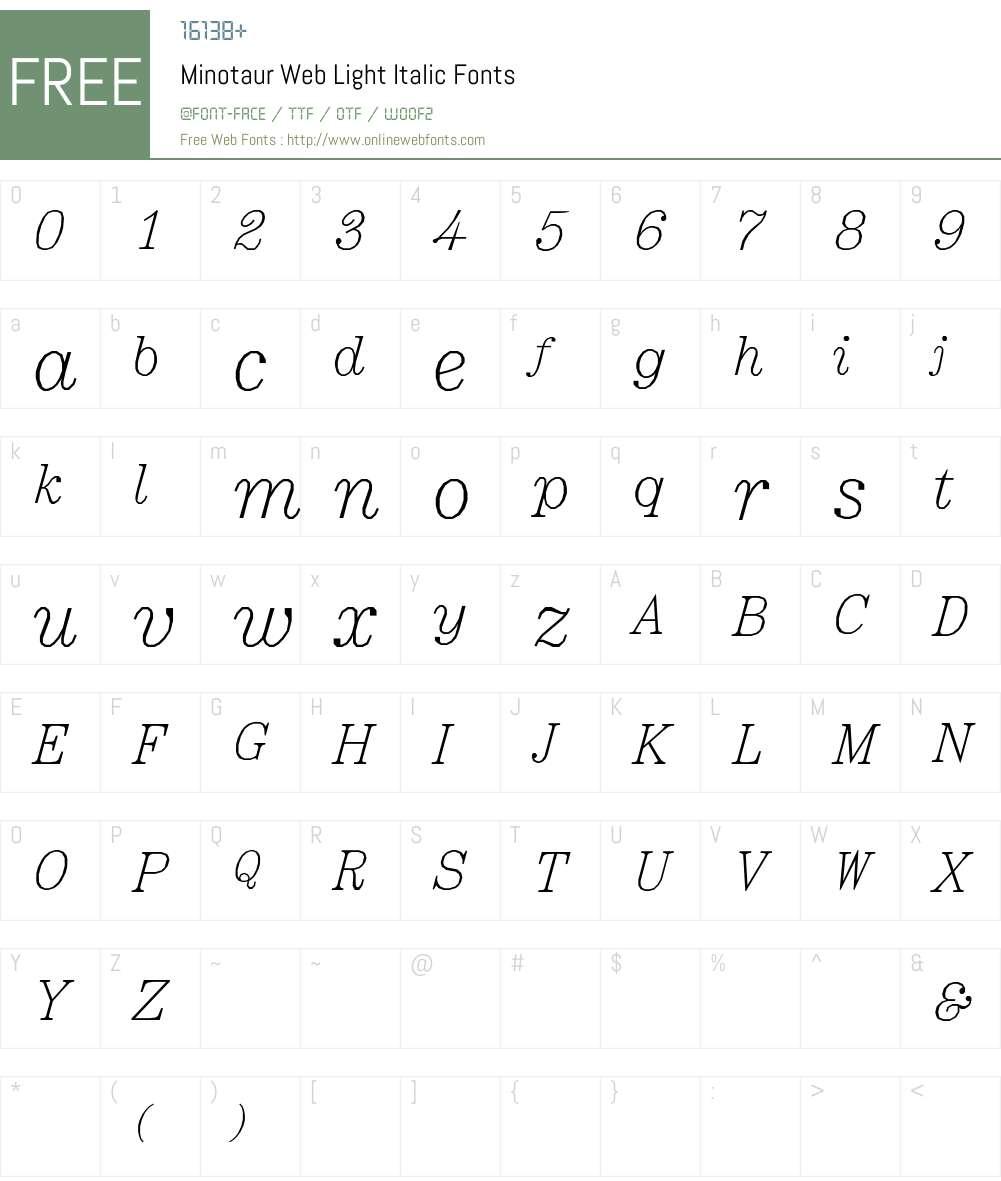 Minotaur Web Light Font Screenshots