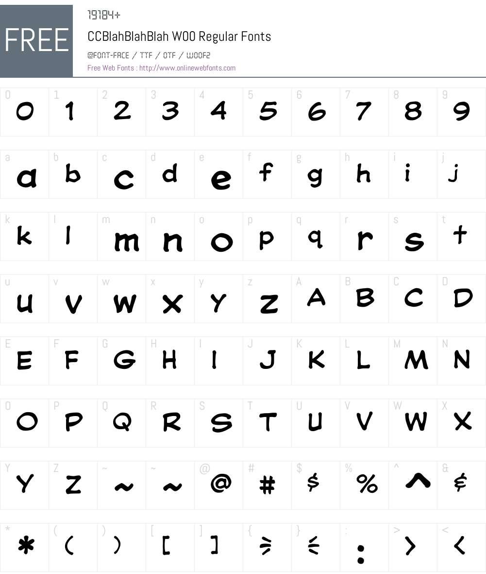 CCBlahBlahBlahW00-Regular Font Screenshots