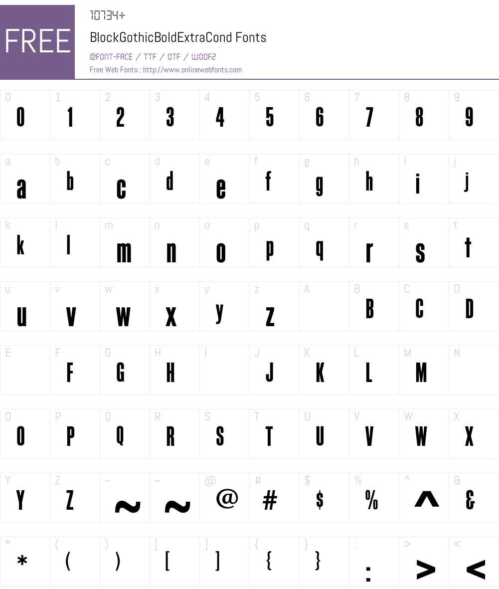 BlockGothicBoldExtraCond Font Screenshots