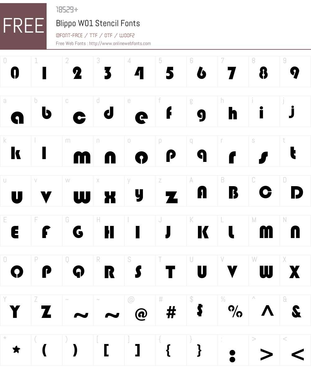 BlippoW01-Stencil Font Screenshots