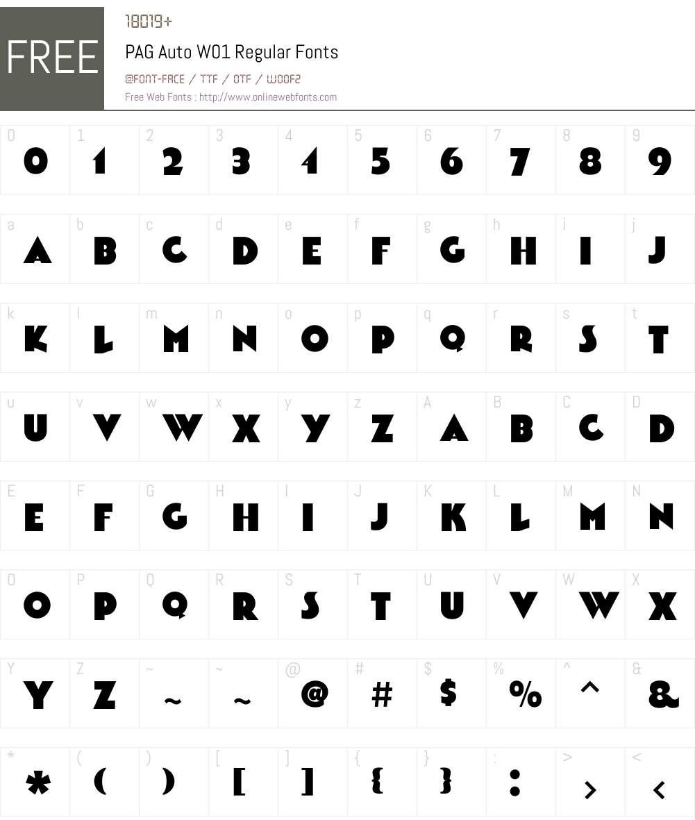PAGAutoW01-Regular Font Screenshots