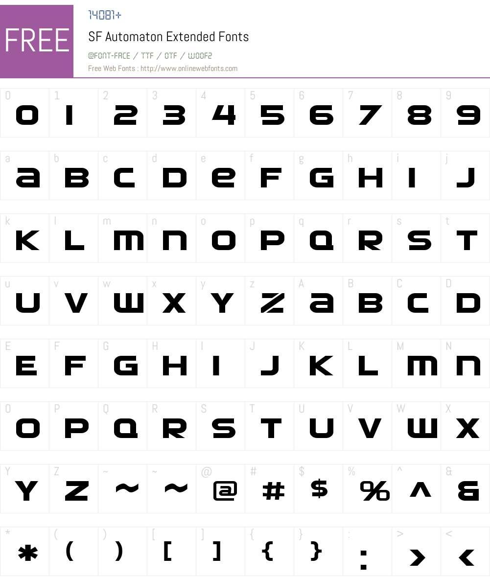SF Automaton Extended Font Screenshots