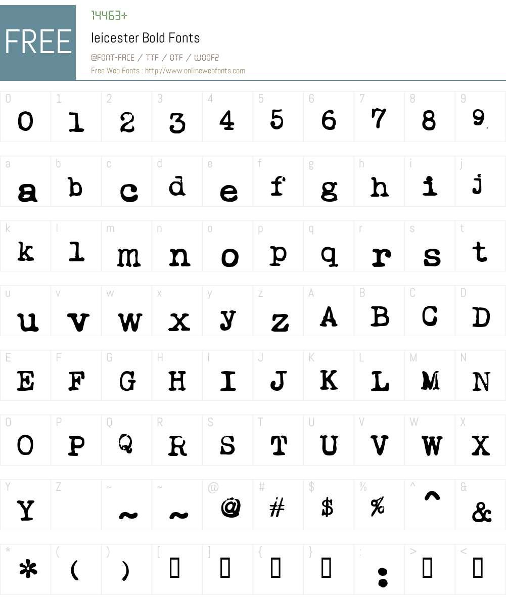 Ieicester Font Screenshots