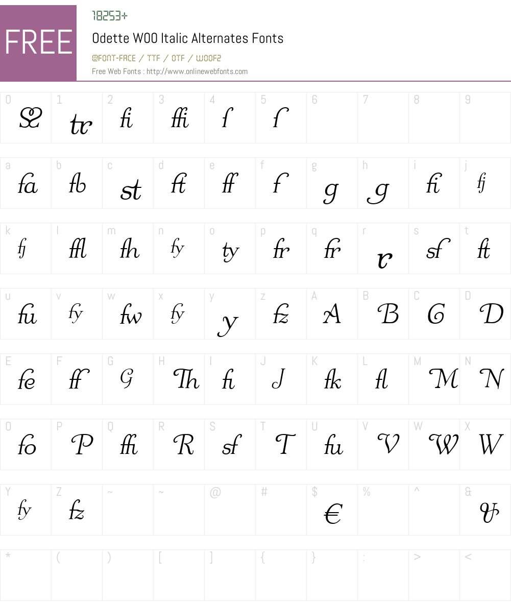 OdetteW00-ItalicAlternates Font Screenshots
