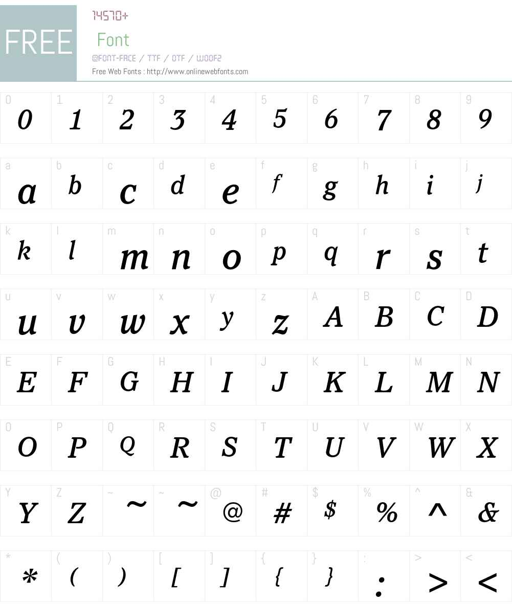 PacellaEF-MediumItalic Font Screenshots