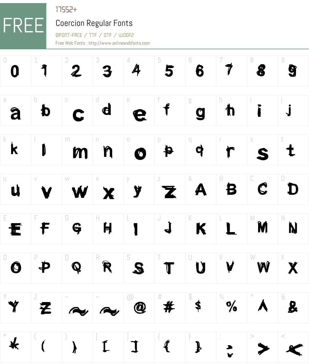 Coercion Regular Font Screenshots