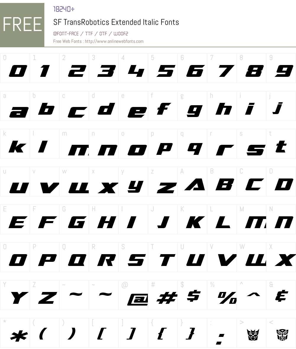 SF TransRobotics Extended Font Screenshots