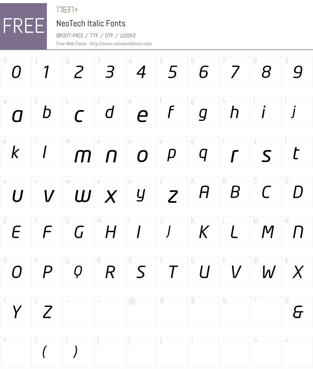 NeoTech Font Screenshots