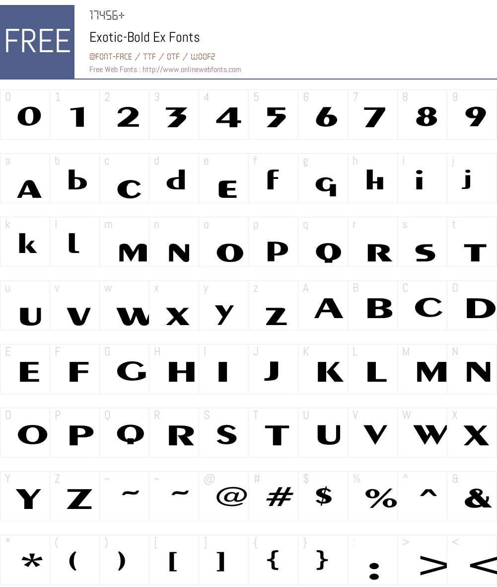 Exotic-Bold Ex Font Screenshots
