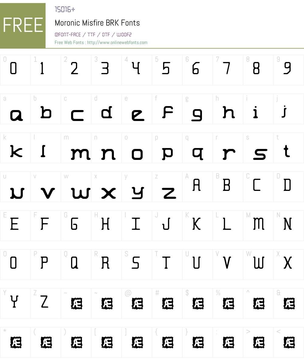 Moronic Misfire BRK Font Screenshots