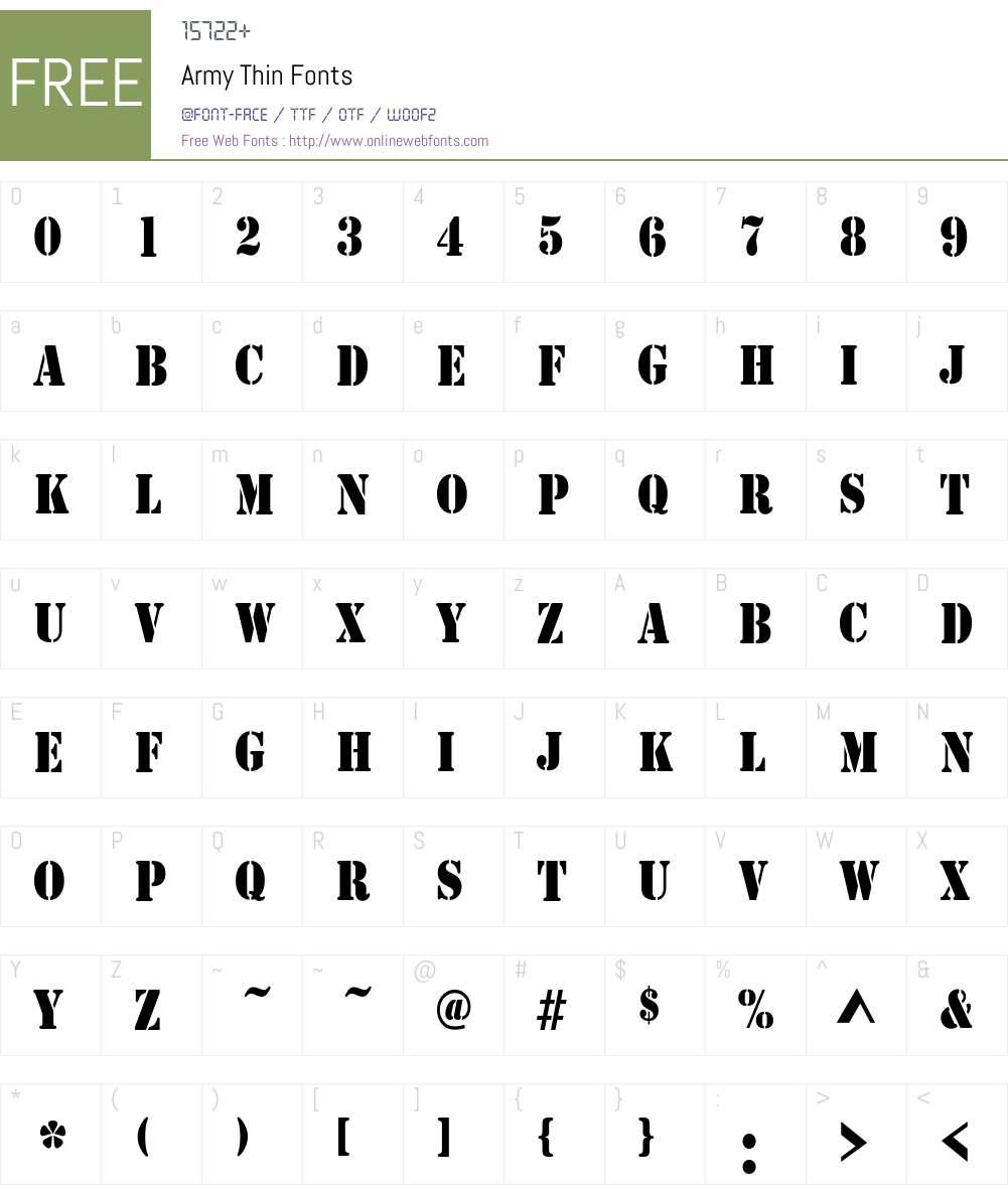 Army Thin Font Screenshots