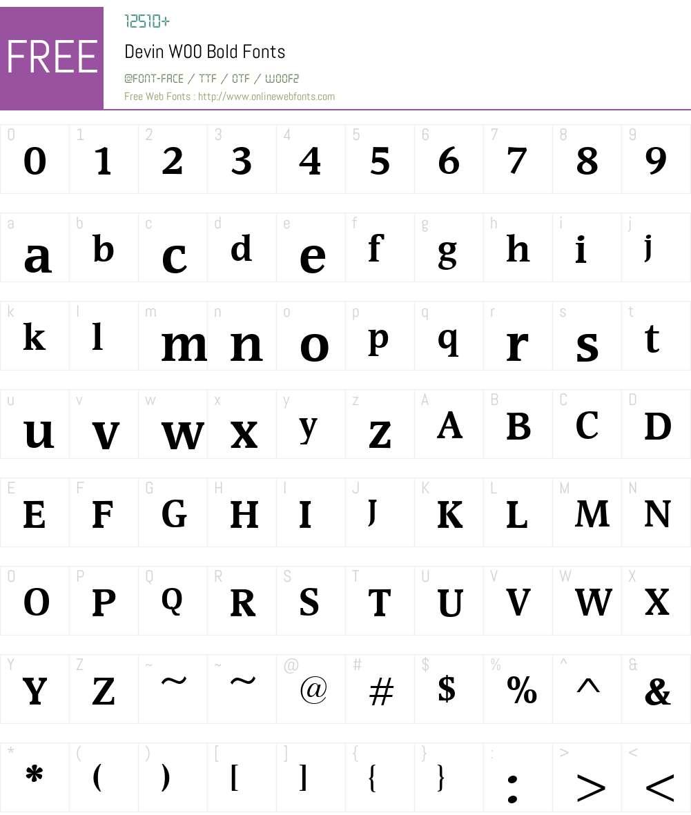 DevinW00-Bold Font Screenshots