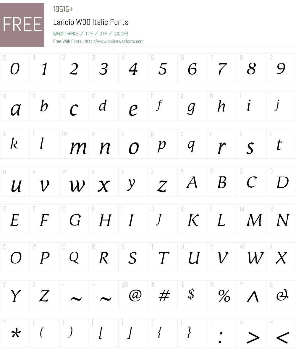 LaricioW00-Italic Font Screenshots