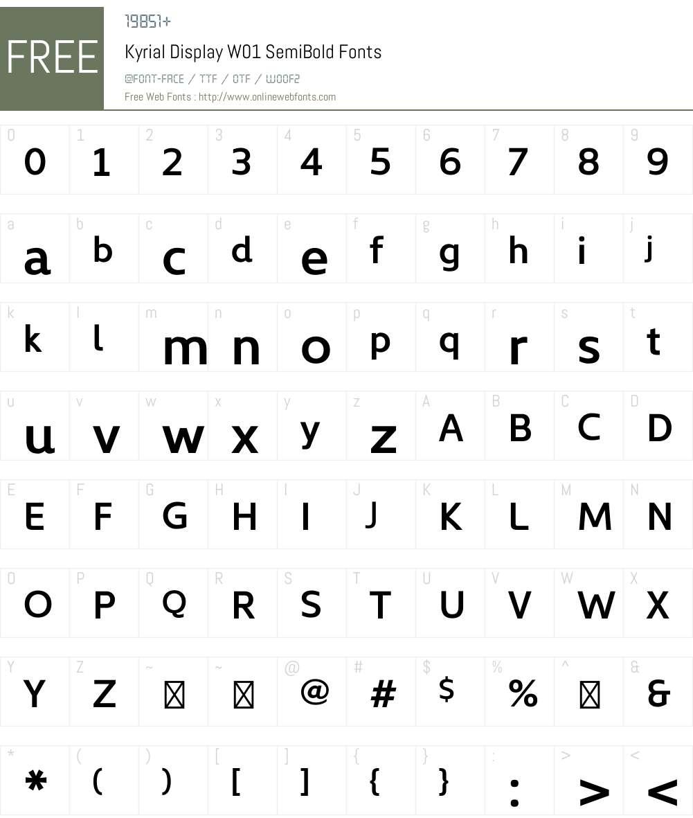 KyrialDisplayW01-SemiBold Font Screenshots