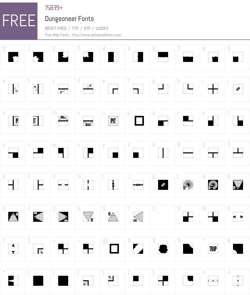 Dungeoneer Font Screenshots