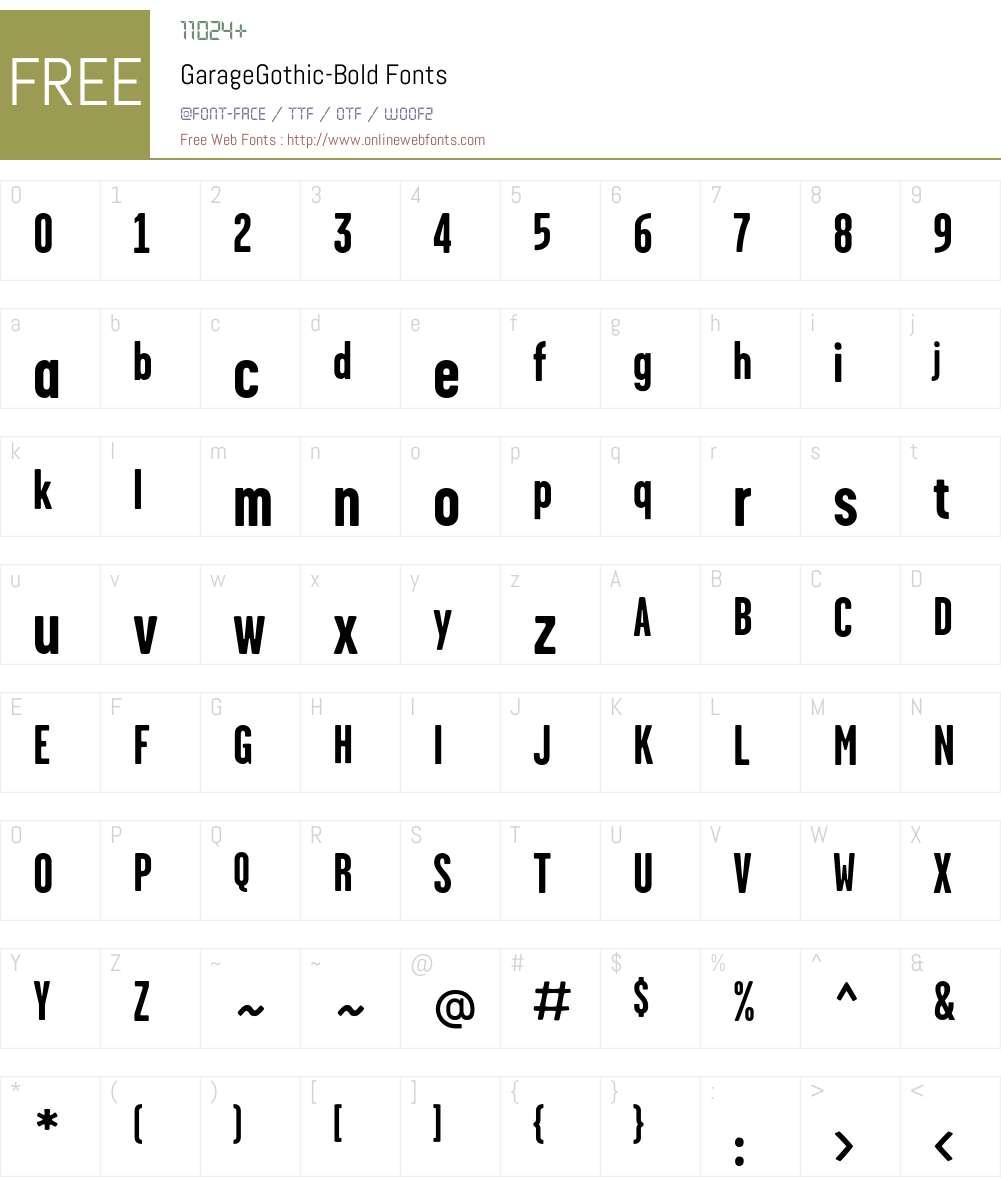 GarageGothic-Bold Font Screenshots