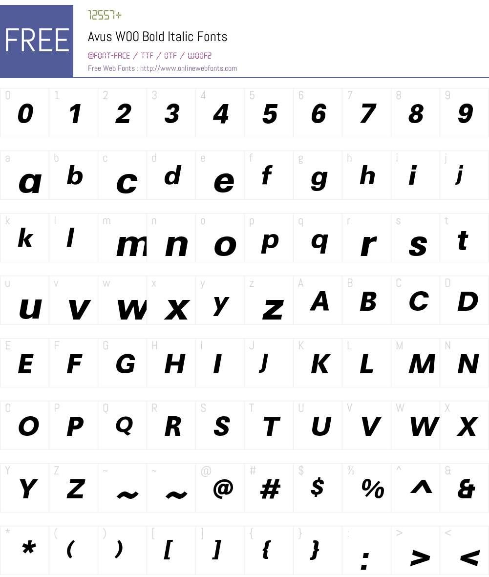 AvusW00-BoldItalic Font Screenshots