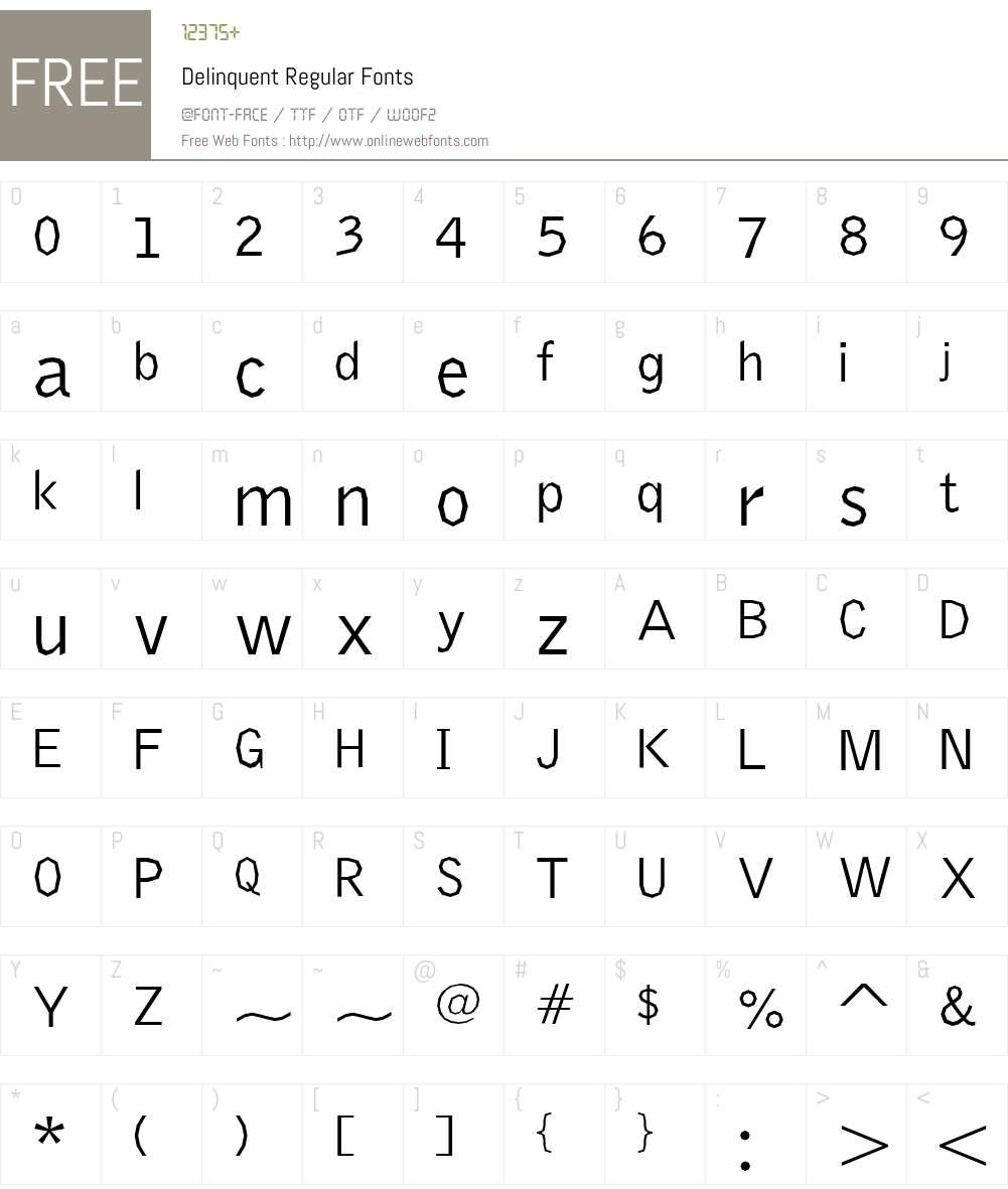 Delinquent Regular Font Screenshots