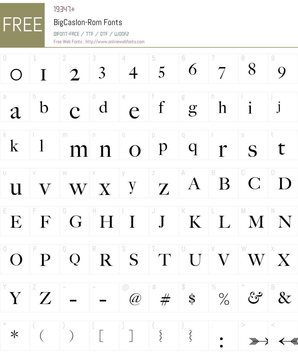 BigCaslon Font Screenshots