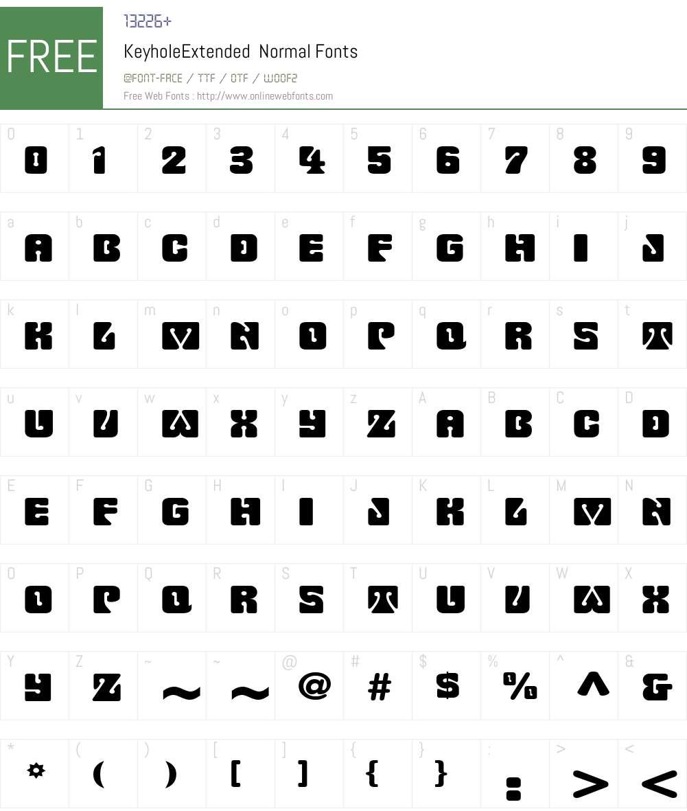 KeyholeExtended Font Screenshots